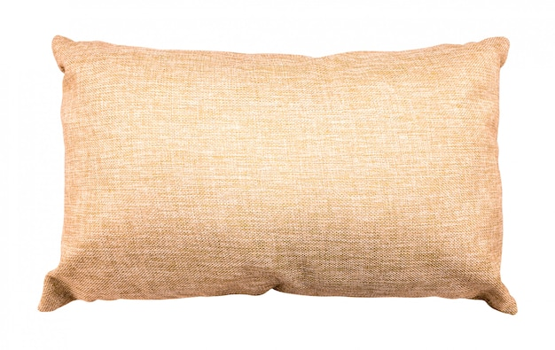 Coussin brun isolé. coussin moelleux en toile de jute. Photo Premium
