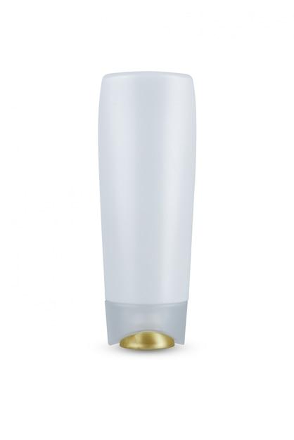 Couvercle doré, shampooing d'hygiène cosmétique pour bouteille en plastique de corps blanc, revitalisant avec hydratation corporelle isolée Photo Premium