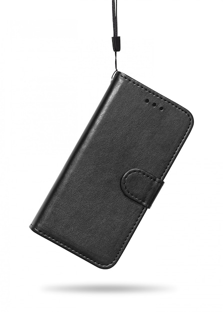 Couverture de téléphone portable en cuir isolée sur fond blanc Photo Premium