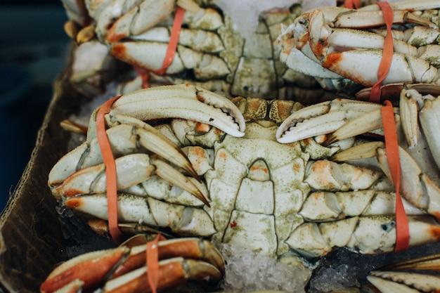 Crabe de mer attaché au marché aux poissons Photo gratuit
