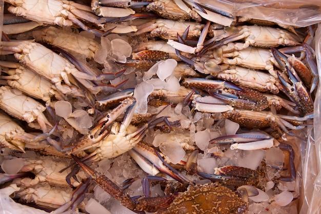 Crabes Sur Comptoir Du Marché Photo gratuit