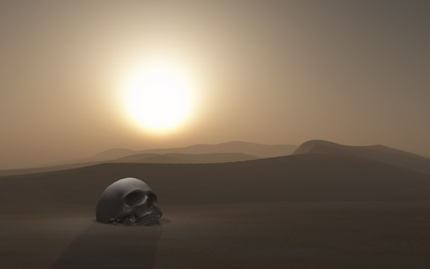 Crâne 3d enterré dans un désert contre un ciel coucher de soleil Photo gratuit