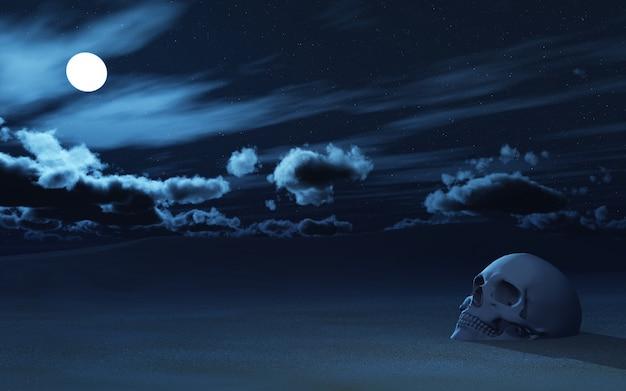 Crâne 3d partiellement enterré dans le sable contre le ciel nocturne Photo gratuit