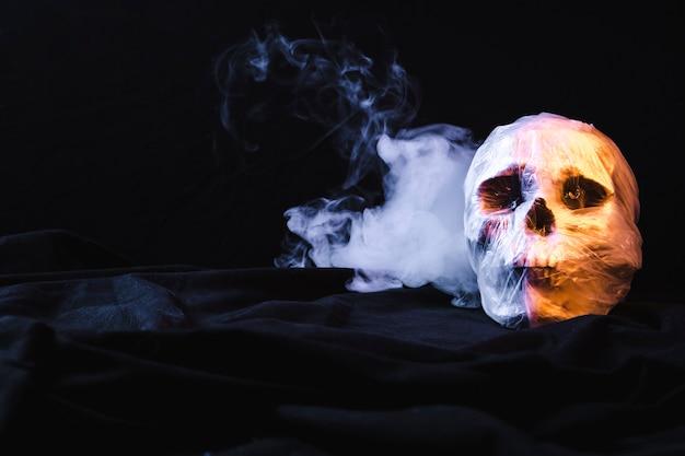 Crâne dans un sac en plastique avec de la fumée Photo gratuit