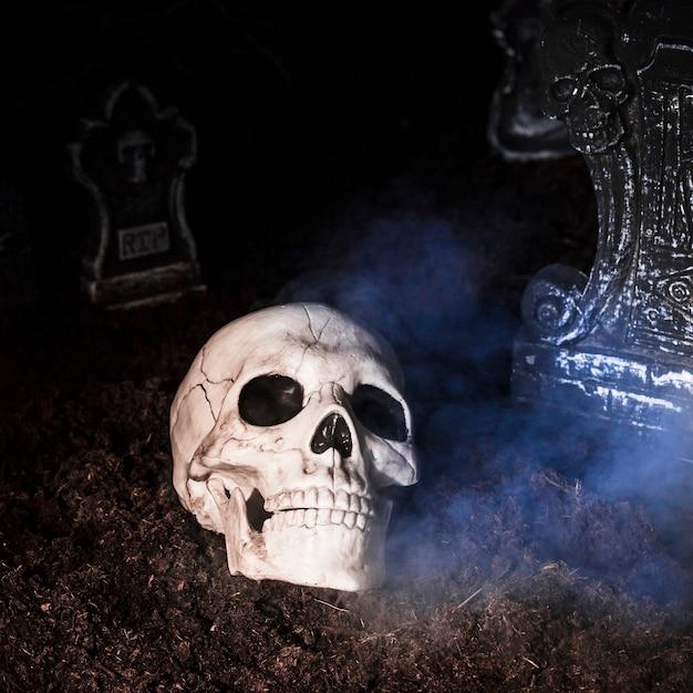 Crâne effrayant au cimetière le soir d'halloween Photo gratuit