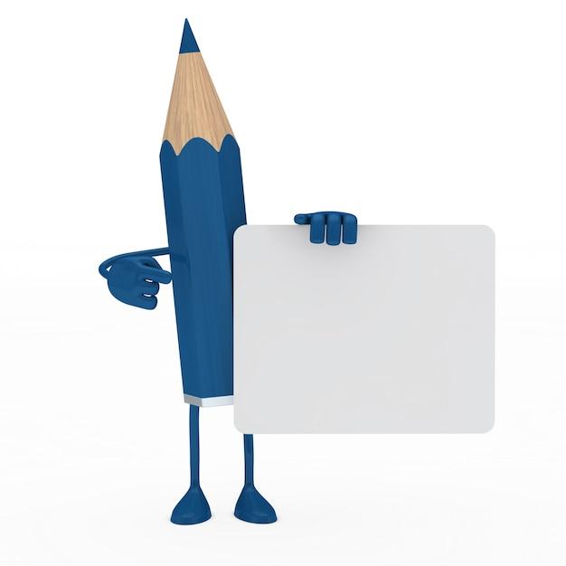 Crayon bleu posant avec une pancarte en blanc Photo gratuit