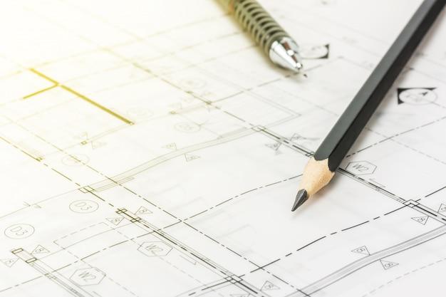 Crayon sur blueprint Photo Premium