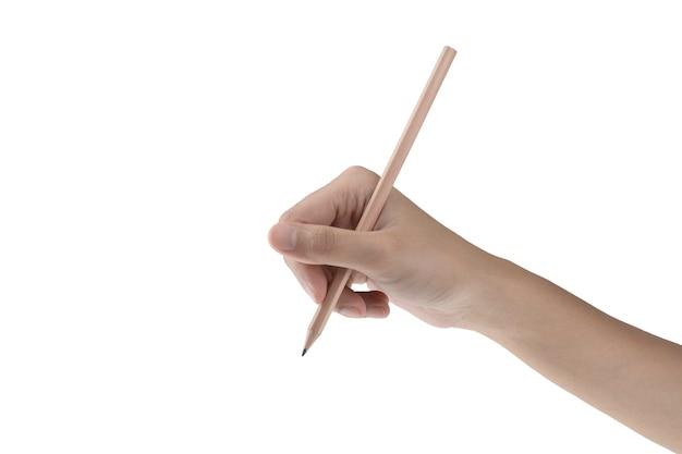 Crayon de maintien isolé main droite avec un fond blanc et un tracé de détourage Photo Premium