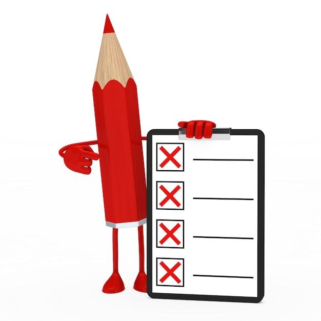 Crayon rouge tenant une liste négative Photo gratuit