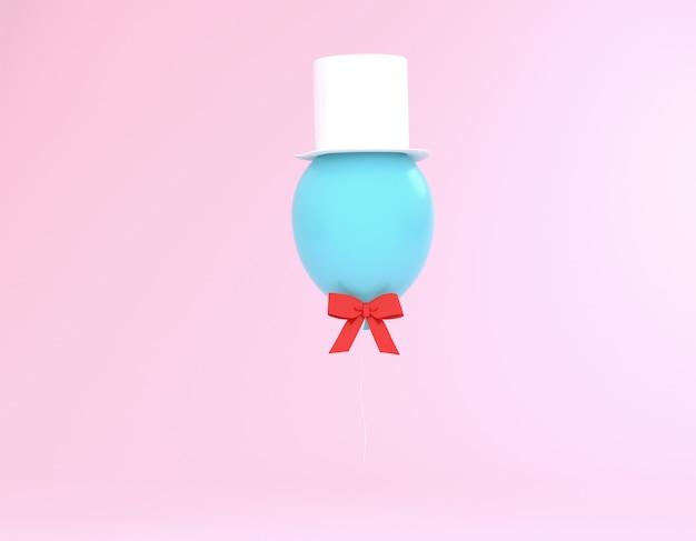 Créatif fait de ballon bleu avec chapeau et ruban rouge sur fond rose pastel. Photo Premium