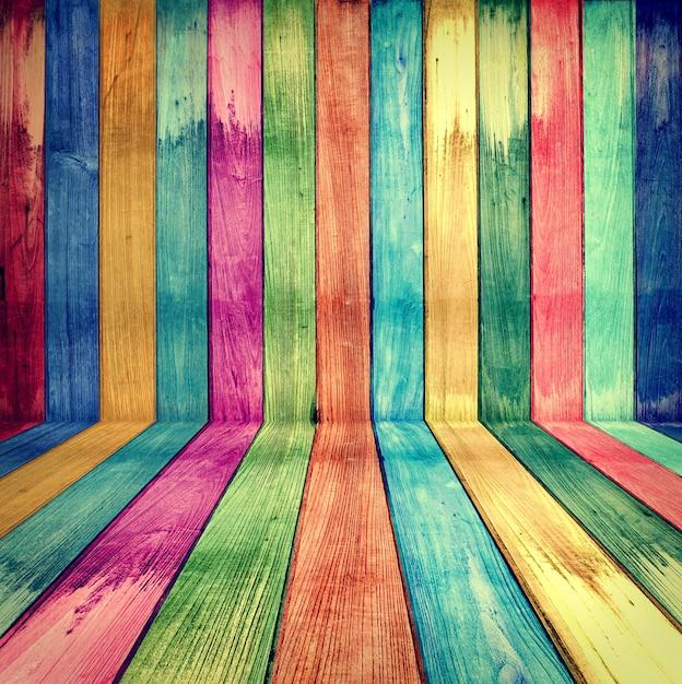 Creative wooden room concept rétro coloré Photo Premium