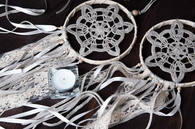 Crochet Beige Napperon De Rêve Photo Premium