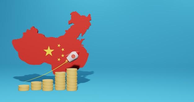 Croissance économique Dans Le Pays De La Chine Pour L'infographie Et Le Contenu Des Médias Sociaux En Rendu 3d Photo Premium