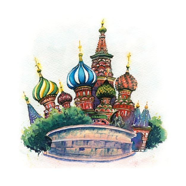 Croquis à L'aquarelle De La Cathédrale De Vasily Le Bienheureux Ou De La Cathédrale Saint Basile à Moscou, Russie Photo Premium