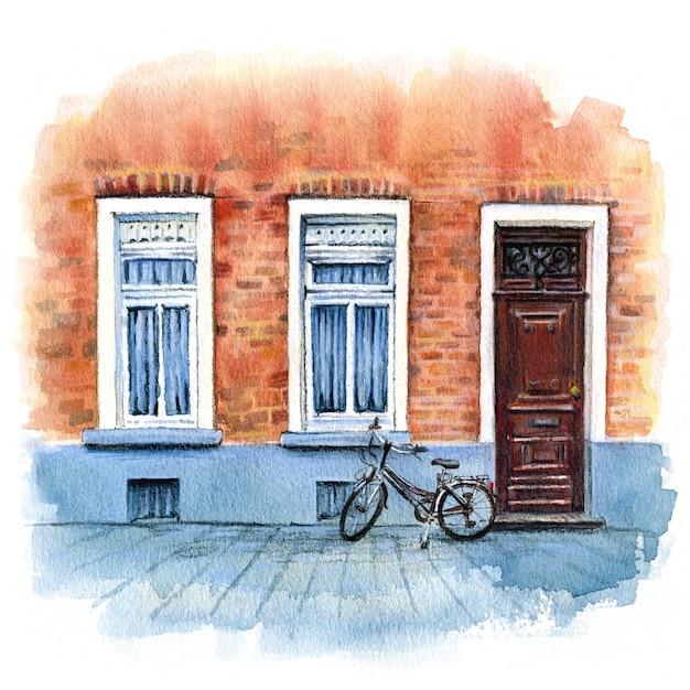 Croquis Aquarelle Urbain De Maison En Brique Avec Porte, Byke Et Windows Bruges, Belgique Photo Premium