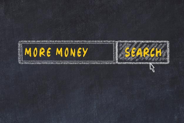 Croquis du tableau de craie du moteur de recherche. concept de chercher plus d'argent Photo Premium