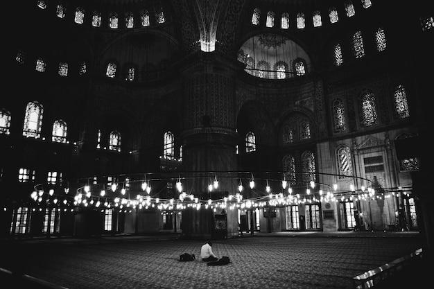 Des Croyants Solitaires Dans La Mosquée Bleue En Prière. Photo Premium