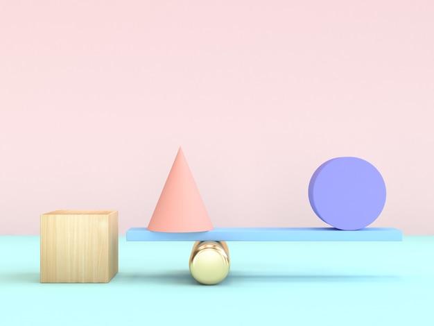 Cube cône cercle gravité concept minimal forme géométrique coloré rendu 3d Photo Premium