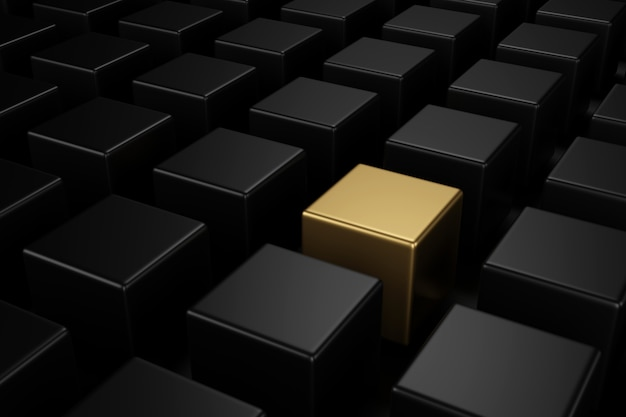 Cube doré au milieu de cubes noirs avec les différents concepts. rendu 3d. Photo Premium