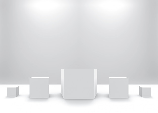 Cube simple carré blanc de petite à grande rangée Photo Premium