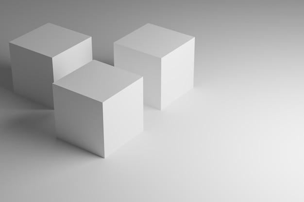 Les Cubes Blancs Représentent Des Produits. Rendu 3d Photo Premium