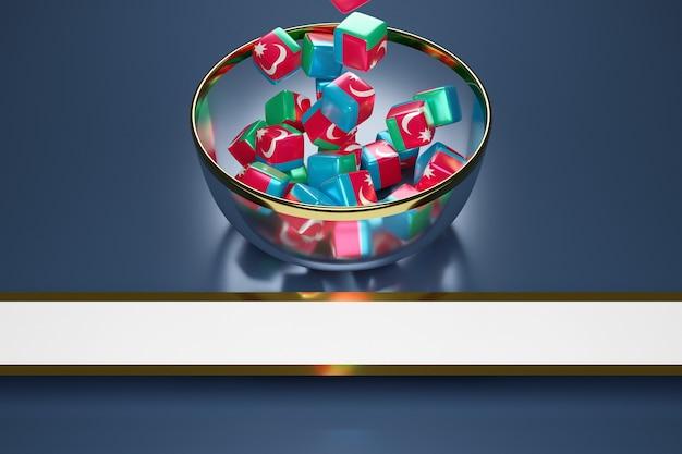Cubes Avec L'image Du Drapeau National De L'azerbaïdjan Photo Premium
