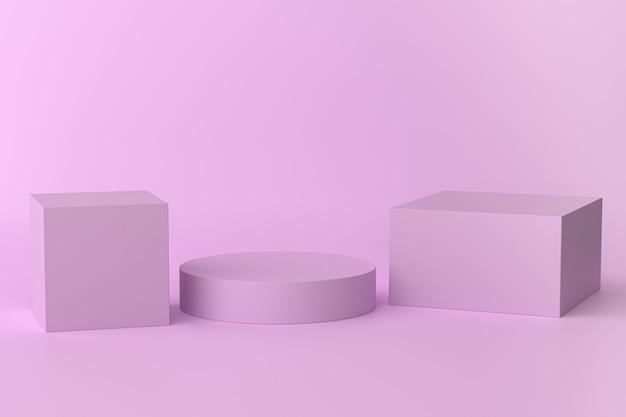 Cubes Violets Et Support En Forme De Cylindre Ou Piédestal Pour Les Produits. Rendu 3d Photo Premium