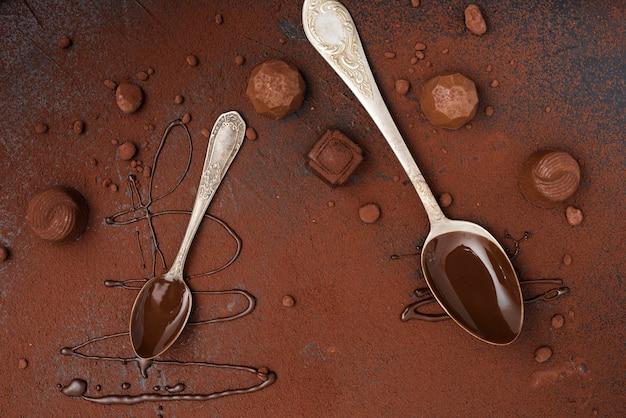 Cuillères avec des truffes au sirop de chocolat et de la poudre de cacao Photo gratuit