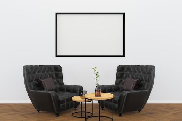 Cuir noir chaise vintage fond de bois foncé salon fond de cadre intérieur Photo Premium