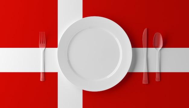 Cuisine Authentique Du Danemark. Assiette Avec Drapeau Danois Et Couverts. Illustration 3d. Photo Premium