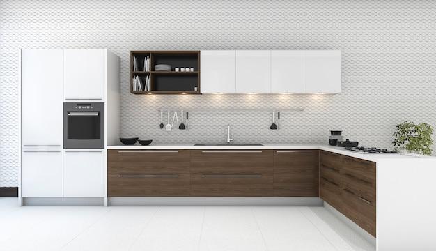 Cuisine en bois décor 3d Photo Premium