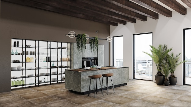 Cuisine Moderne Avec Armoire De Cuisine, étagère Et Design De Plafond Photo Premium