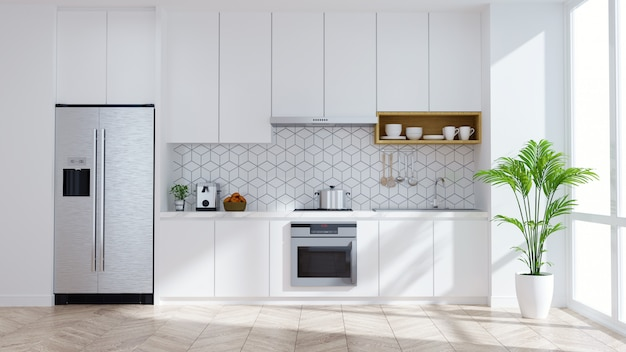 Cuisine moderne intérieur salle blanche .3drender Photo Premium