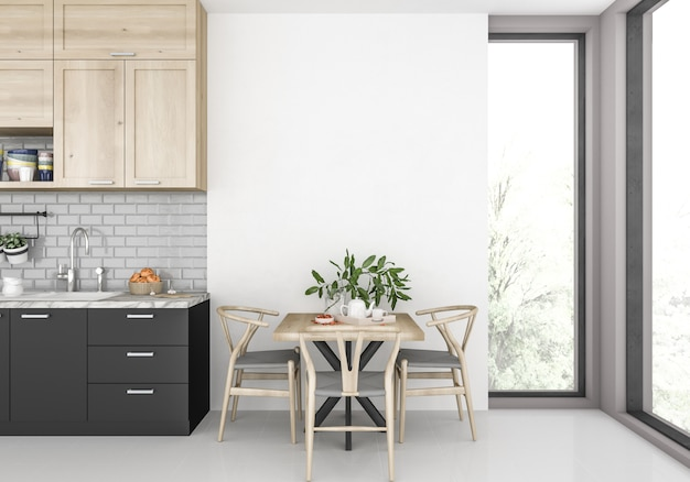 Cuisine moderne avec mur blanc Photo Premium