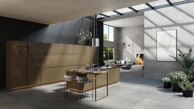 Cuisine De Style Américain Avec Salon Design Et Plantes, Rendu 3d Photo Premium