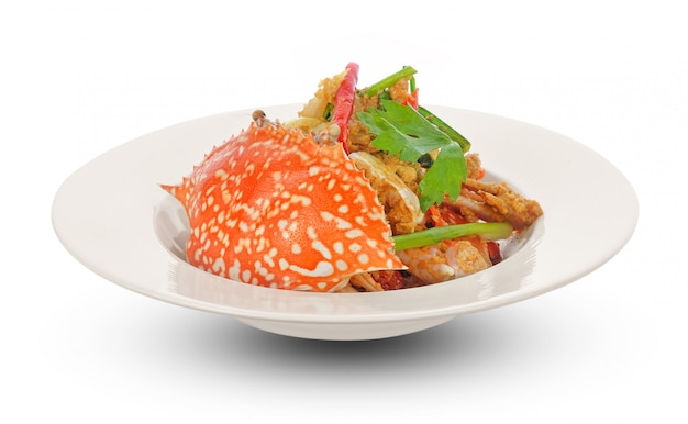 Cuisine thaïlandaise, crabe frit au curry Photo Premium