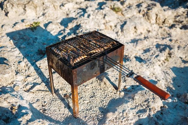 Cuisson de petits poissons sur le gril sur la plage Photo Premium
