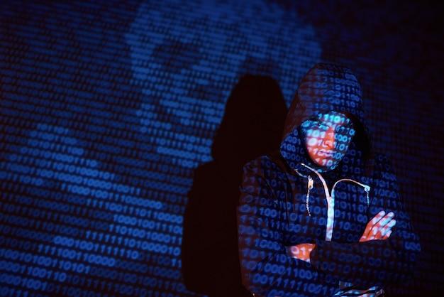 Cyberattaque Avec Un Pirate Informatique à Capuche Méconnaissable Utilisant La Réalité Virtuelle, Effet De Pépin Numérique Photo gratuit