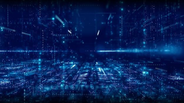 Cyberespace Numérique Avec Particules Et Concept De Connexions De Réseau De Données Numériques Photo Premium