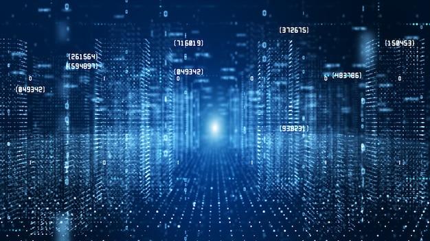 Cyberespace Numérique Avec Des Particules Et Concept De Connexions De Réseau De Données Numériques. Photo Premium