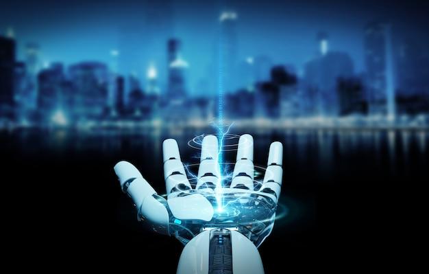 Cyborg blanc ouvrant le rendu 3d de sa main Photo Premium