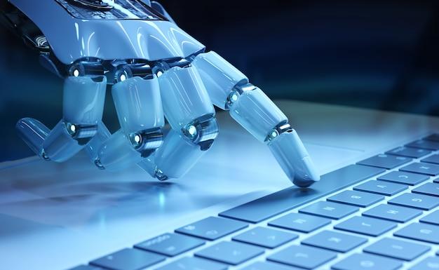Cyborg main appuyant sur un clavier sur un ordinateur portable Photo Premium