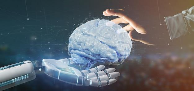 Cyborg main tenant un cerveau artificiel rendu 3d Photo Premium