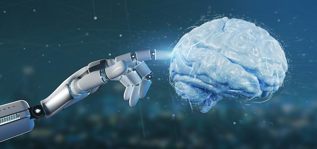 Cyborg main tenant un cerveau artificiel rendu 3d Photo Premium