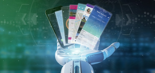 Cyborg main tenant le modèle d'application mobile sur un smartphone rendu 3d Photo Premium