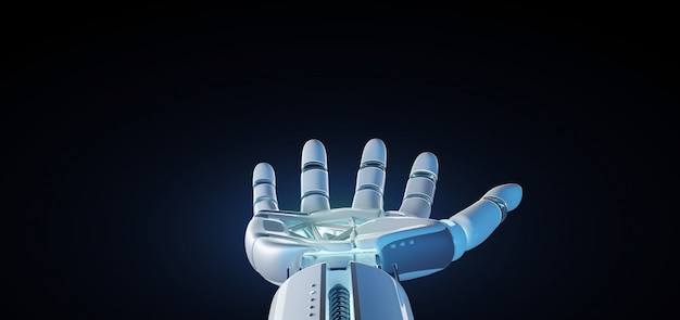 Cyborg robot part sur un fond uniforme rendu 3d Photo Premium