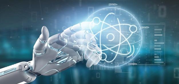 Cyborg tenant une icône d'atome entourée de données Photo Premium