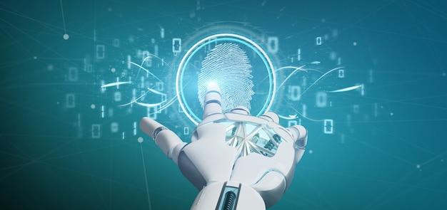 Cyborg tenant une identification d'empreinte digitale numérique et un rendu 3d de code binaire Photo Premium