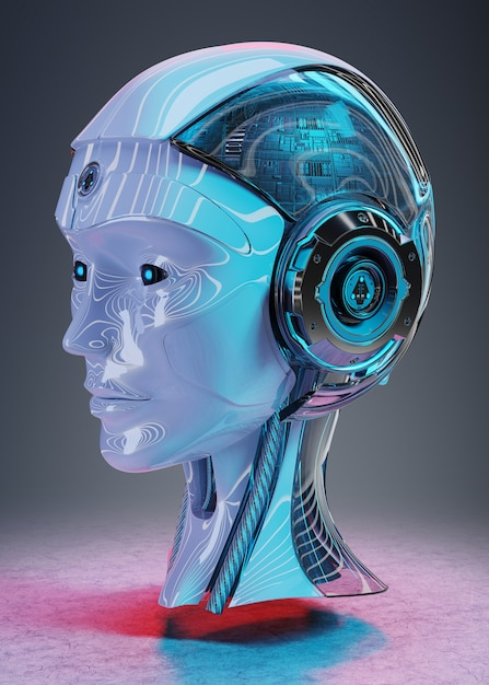 Cyborg, tête, intelligence artificielle, rendu 3d Photo Premium