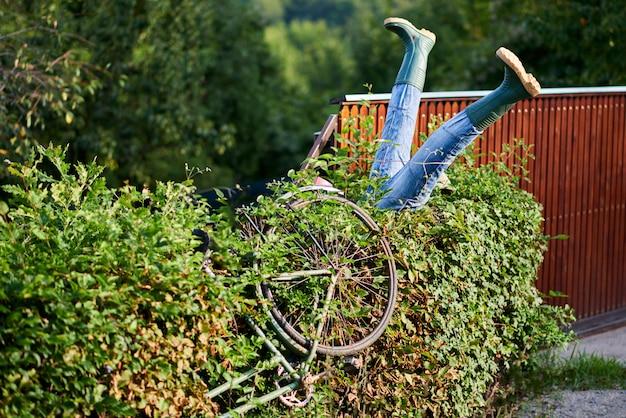 Un cycliste ivre s'est écrasé dans des buissons Photo Premium
